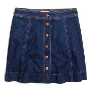 Stretch Denim A-Line Mini Skirt: Button-Front Edit